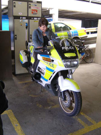 Linda on a police motorbike
